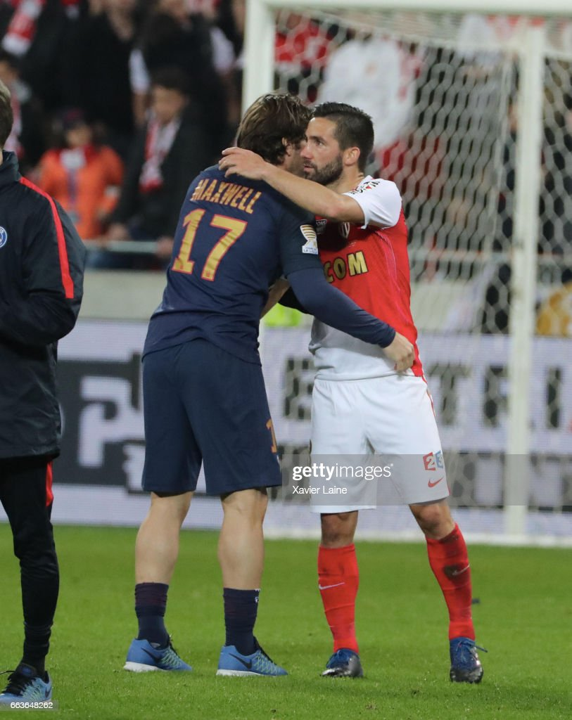 Maxwell of Paris Saint-Germain react with Bernardo Silva of AS Monaco after the French League Cup Final match between Paris Saint-Germain and AS Monaco at Parc Olympique on Japril 01, 2017 in Lyon, France.