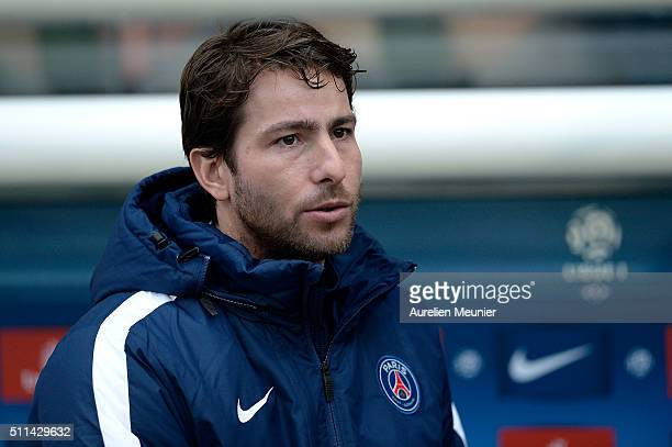 Maxwell of Paris SaintGermain reacts before the Ligue 1 game between Paris SaintGermain and Stade de Reims at Parc des Princes on February 20 2016 in...
