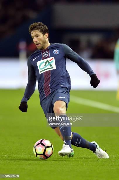 Maxwell of Paris SaintGermain runs with the ball during the French Cup SemiFinal match between Paris SaintGermain and As Monaco at Parc des Princes...