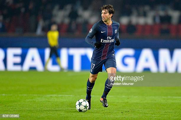 Maxwell of Paris SaintGermain runs with the ball during the UEFA Champions League match between Paris SaintGermain and FC Ludogorets Razgrad at Parc...