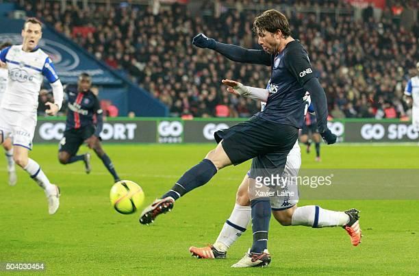 Maxwell of Paris SaintGermain scores the second goal during the French Ligue 1 between Paris SaintGermain and SC Bastia at Parc Des Princes on...