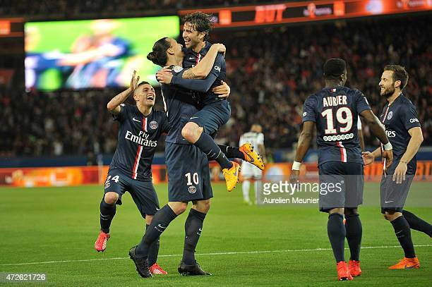Maxwell of PSG reacts after scoring the fourth goal in the 60 victory over EA Guingamp during the Ligue 1 game between Paris Saint Germain and EA...
