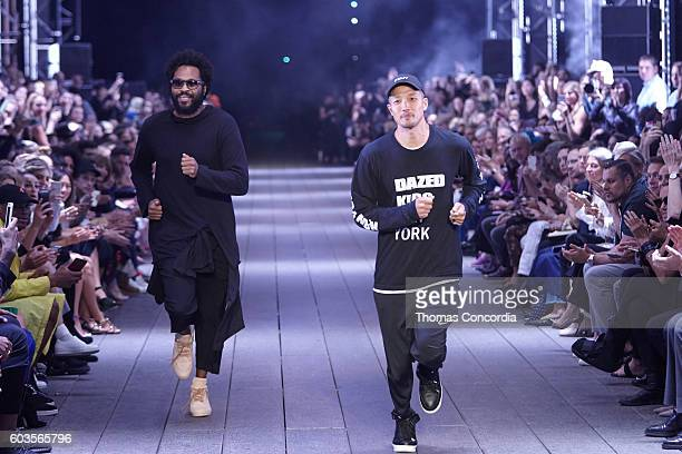 Maxwell Osborne and DaoYi Chow walk the runway after presenting their DKNY Spring 2017 Collection on the highline during New York Fashion Week on...