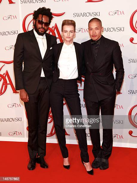 Maxwell Osborne, Edita Vilkeviciute and Dao-yi Chow attend 2012 CFDA Fashion Awards at Alice Tully Hall on June 4, 2012 in New York City.