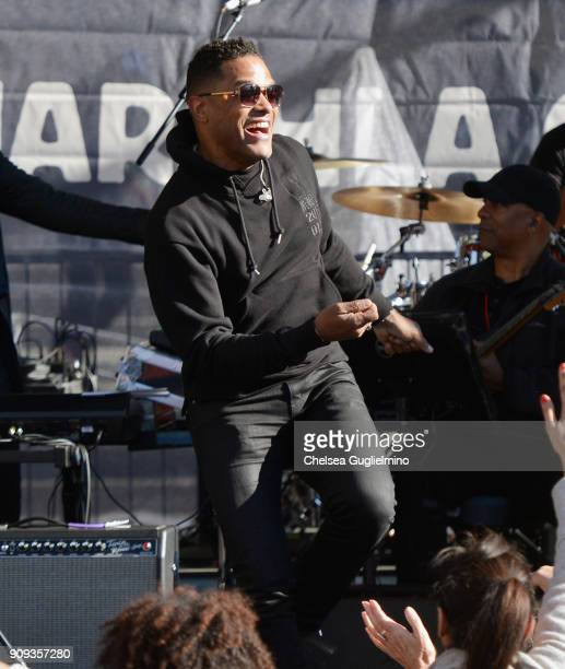 Maxwell performs during the Women's March Los Angeles 2018 on January 20 2018 in Los Angeles California