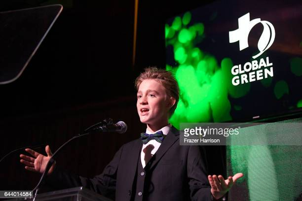 Maxwell Robert Loughan speaks onstage during the 14th Annual Global Green Pre Oscar Party at TAO Hollywood on February 22 2017 in Los Angeles...