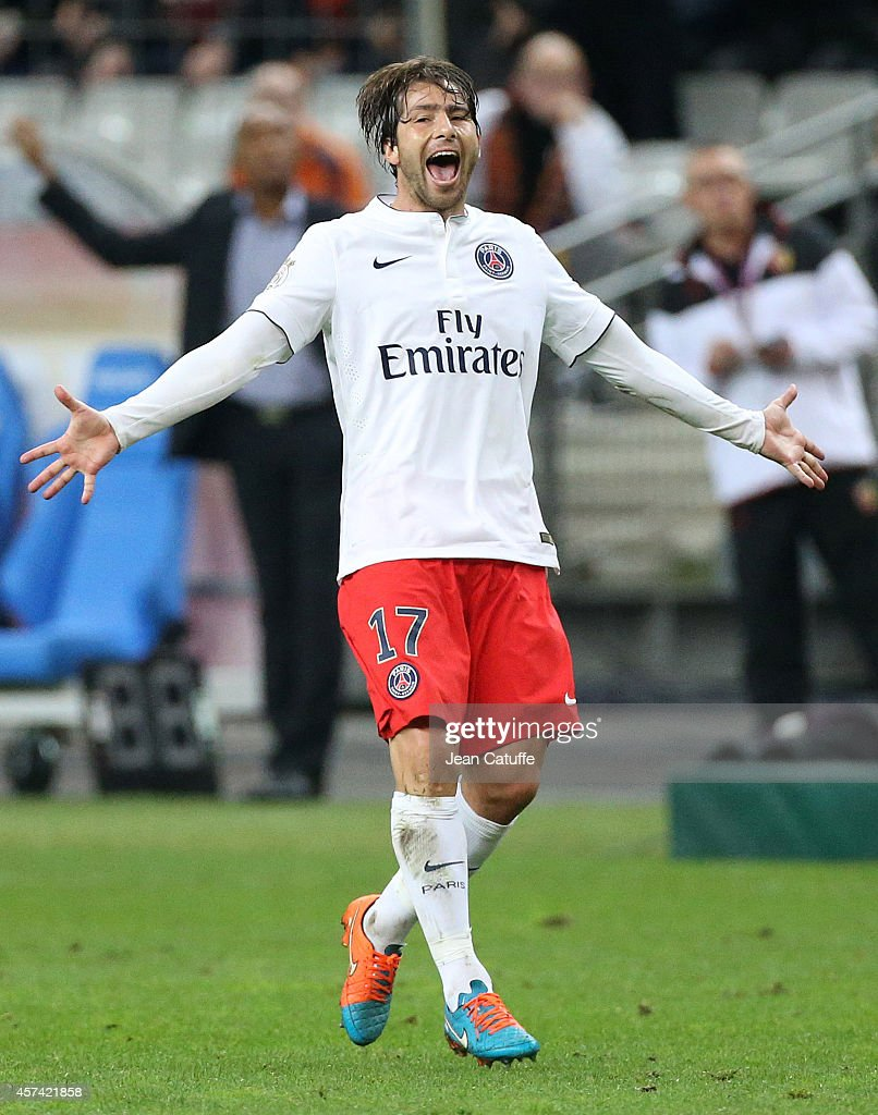 Maxwell Scherrer of PSG celebrates his goal during the French Ligue 1 match between RC Lens and Paris Saint-Germain FC at Stade de France on October 17, 2014 in Saint-Denis near Paris, France.