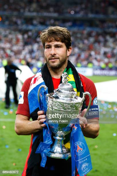 Maxwell Sherrer of Paris Saint Germain with the trophy after winning the National Cup Final match between Angers SCO and Paris Saint Germain PSG at...