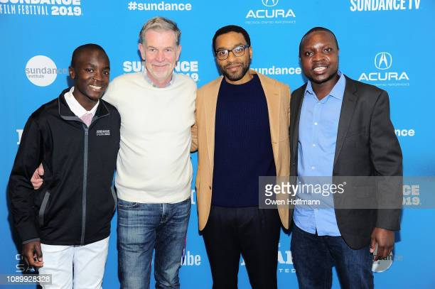 Maxwell Simba CEO of Netflix Reed Hasting Chiwetel Ejiofor and William Kamkwamba attend the Netflix film The Boy Who Harnessed The Wind Sundance Film...