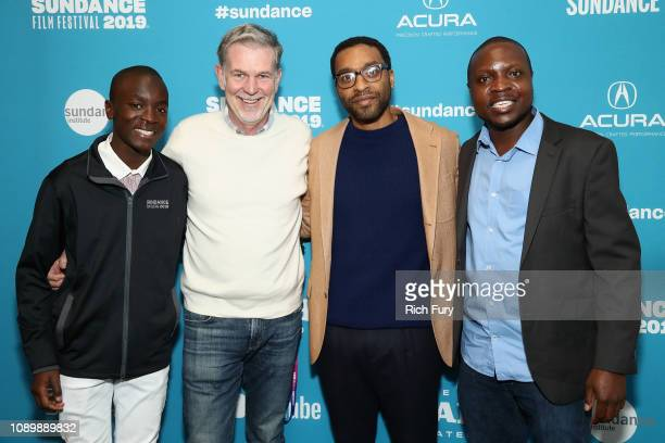 Maxwell Simba Reed Hastings Chiwetel Ejiofor and William Kamkwamba attend The Boy Who Harnessed The Wind Premiere during the 2019 Sundance Film...