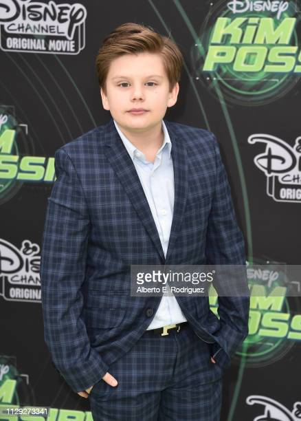 Maxwell Simkins attends the premiere of Disney Channel's Kim Possible at The Television Academy on February 12 2019 in Los Angeles California