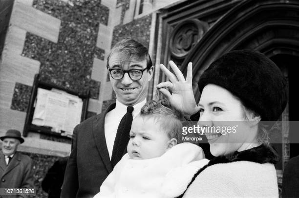 Maxwell the son of Roy Hudd and his wife Ann is christened at Croydon Parish Church Max is pictured with his parents 28th February 1965