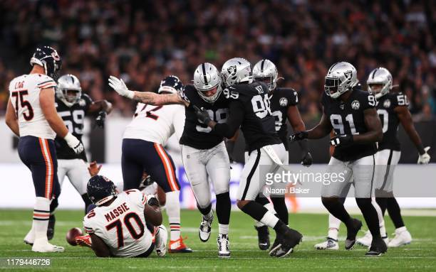 Maxx Crosby of Oakland Raiders celebrates during the game between Chicago Bears and Oakland Raiders at Tottenham Hotspur Stadium on October 06 2019...