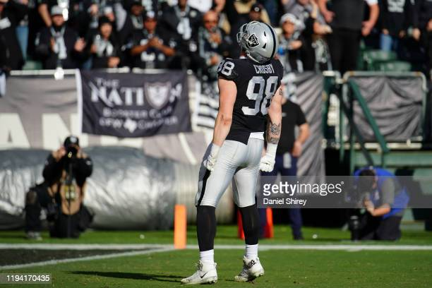 Maxx Crosby of the Oakland Raiders celebrates a sack during the first half against the Jacksonville Jaguars at RingCentral Coliseum on December 15,...