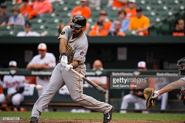 Pittsburgh Pirates third baseman Pedro Alvarez singles to second base during the first inning in the first game in an Interleague Major League...