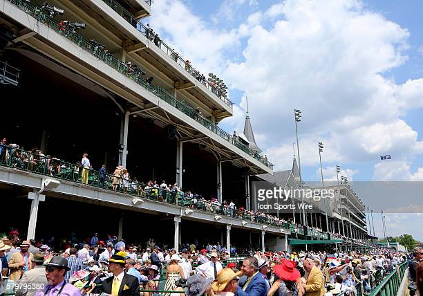 View down the outside rail and stands with the Twin Spires at the 141st running of the Kentucky Derby at Churchill Downs in Louisville, Kentucky.