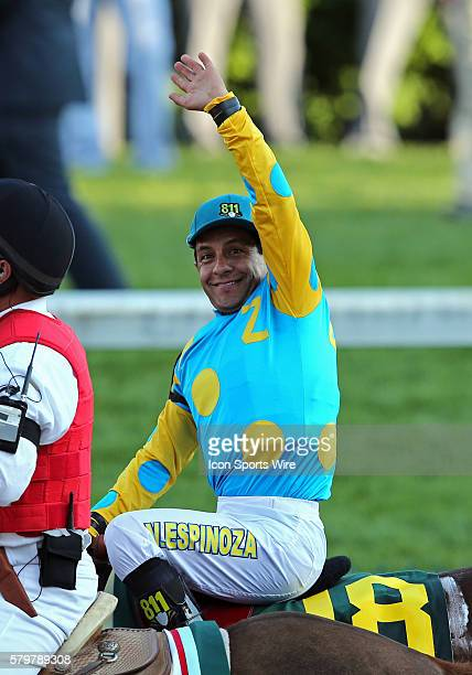 Jockey Victor Espinoza on American Pharoah celebrates after their win the 141st running of the Kentucky Derby at Churchill Downs in Louisville...