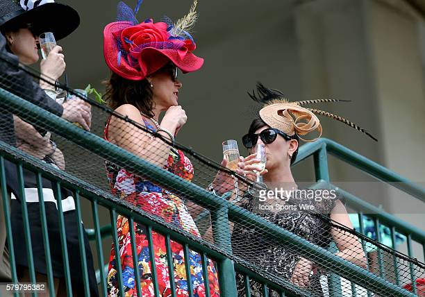 Race fans show their style at the 141st running of the Kentucky Derby at Churchill Downs in Louisville Kentucky