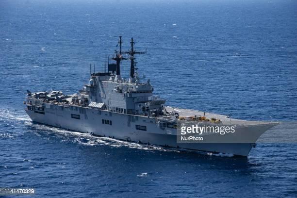 May 02 2019 Mediterranean Sea Italian Aircraft Carrier Giuseppe Garibaldi in mediterranean sea engaged in the exercise Mare Aperto 20191 an Italian...