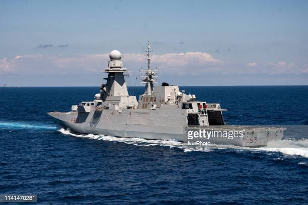 May 02 2019 Mediterranean Sea Italian FREMM Carabiniere in mediterranean sea engaged in the exercise Mare Aperto 20191 an Italian multilateral...