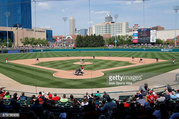 Fans enjoy a beautiful afternoon of baseball watching the game between Lehigh Valley Ironpigs and Indianapolis Indians at Victory Field in...