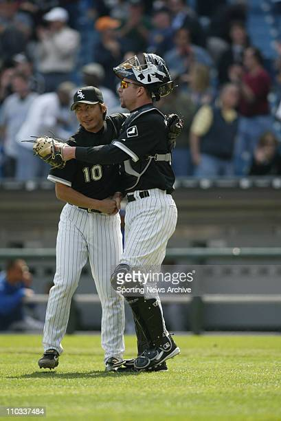 May 05 2005 Chicago IL USA Kansas City Royals against Chicago White Sox Shingo Takatsu Chris Widger in Chicago Ill on May 5 2005 Chicago won 21
