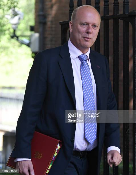 LONDON ENGLAND May 08 Chris Grayling British Secretary of State for Transport arriving at No10 Downing Street fot the weekly cabinet meeting on May...