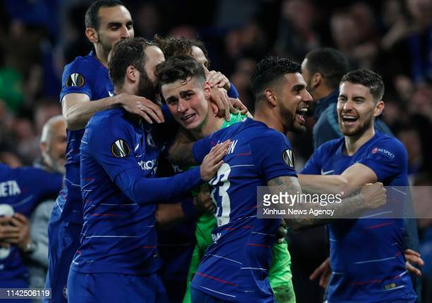 LONDON May 09 2019 Chelsea's Kepa Arrizabalaga C celebrates with teammates after winning the penalty shoot of the UEFA Europa League semifinal second...