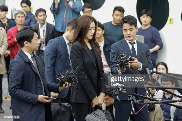 May 1, 2018-Seoul, South Korea-Cho Hyun Min of Korean Air Vice President arrives after standing interview at Seoul Kangseo Police Agency in Seoul,...
