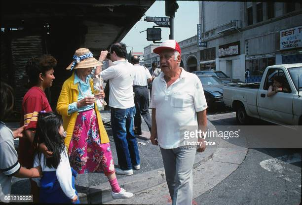 LOS ANGELES May 1 Rodney King Riot Local residents emerging and surveying damage at intersection of Hollywood Boulevard and Wilcox Avenue in...