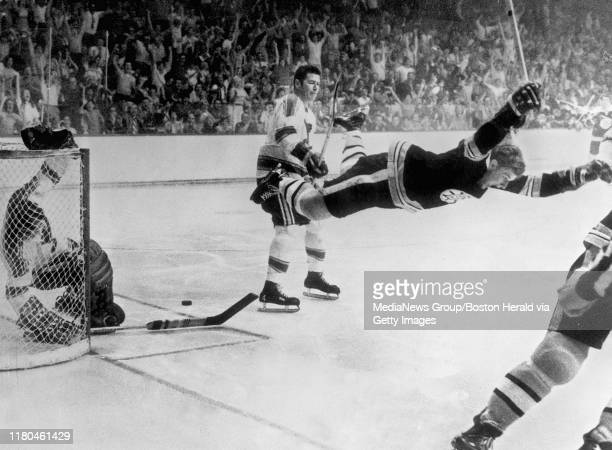 Boston Bruin Bobby Orr's overtime goal that won the Stanley Cup beating the St Louis Blues at the Boston Garden Boston Ma