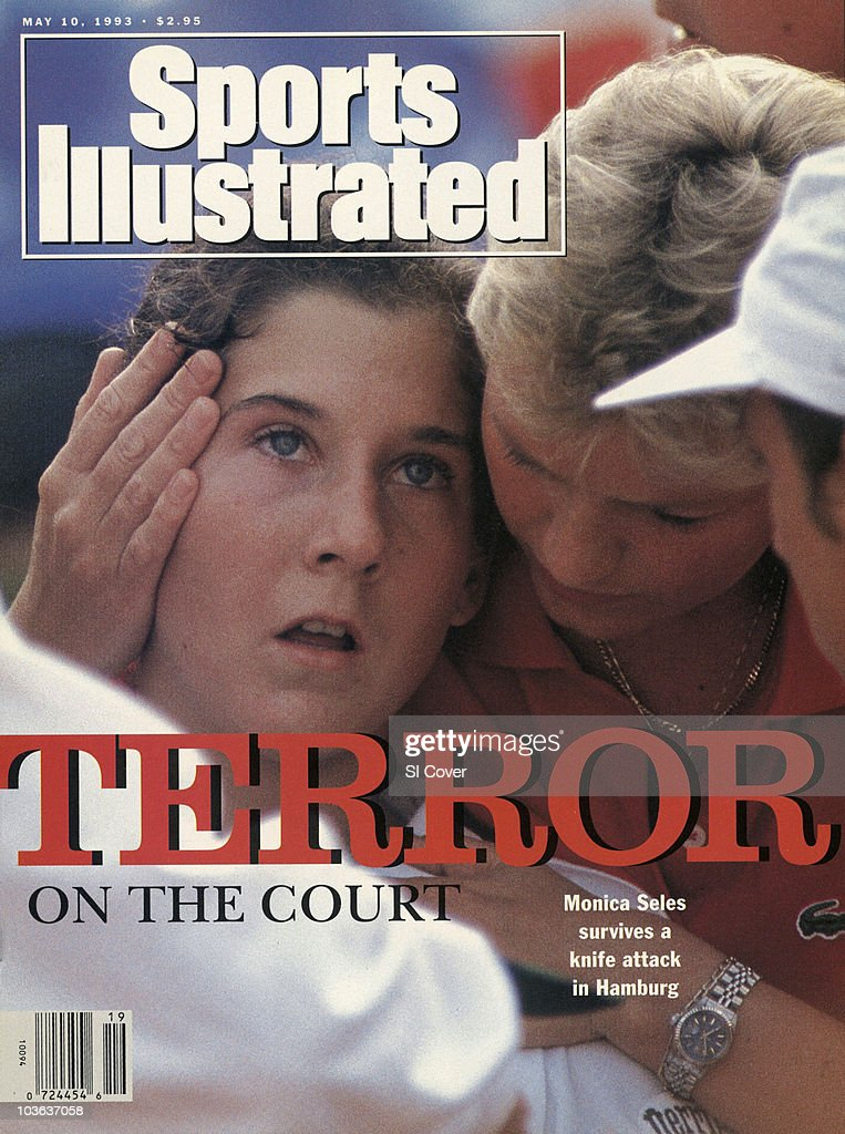 Citizen Cup: Closeup of Yugoslavia Monica Seles sustaining injury after knife stabbing during Women's Quarterfinals vs Bulgaria Magdalena Maleeva at Am Rothenbaum Tennis Club. German citizen Gunter Parche stabbed Seles in the back. Hamburg, Germany 4/30/1993