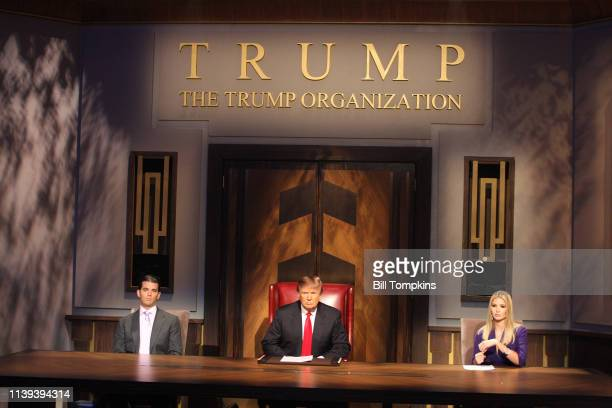 May 10 2009 ]: Donald Trump, Donald Trump Jr. And Ivanka Trump during the filming of the live final tv episode of The Celebrity Apprentice on May 10...