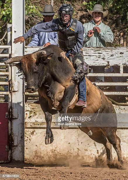 Clayton Brum from Lockeford California gets no score in bull riding event at the 58th Annual Mother Lode RoundUp in Sonora California on Sunday May...