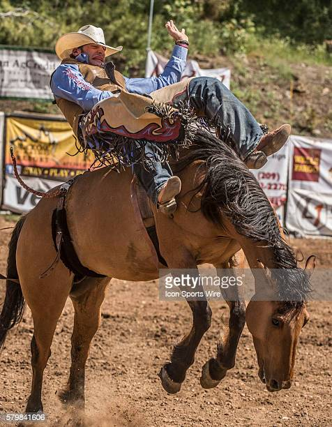 Cody Kiser from Carson City Nevada scores 68 points in the bareback bronc riding event at the 58th Annual Mother Lode RoundUp in Sonora California on...