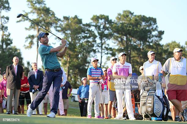 Kevin Kinser tees off during a three-man playoff during the final round of THE PLAYERS Championship at TPC Sawgrass in Ponte Vedra Beach, Fl.
