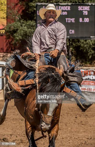 Ron Johnson from Etna California in the saddle bronc riding event at the 58th Annual Mother Lode RoundUp in Sonora California on Sunday May 10 2015