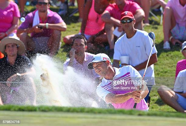 Sergio Garcia comes out of the sand in the final round of The Players Championship at TPC Sawgrass, Ponte Vedra Beach, Florida.