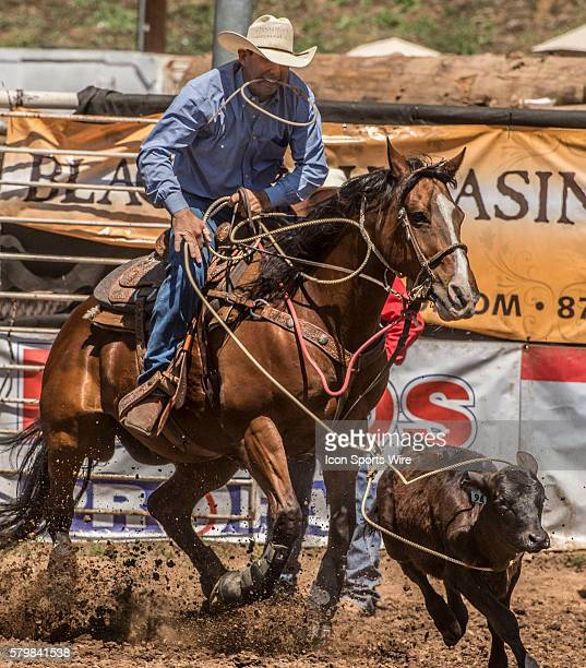 Troy Michael Murray from Oakdale California scores 101 seconds in the tie down roping event at the 58th Annual Mother Lode RoundUp in Sonora...