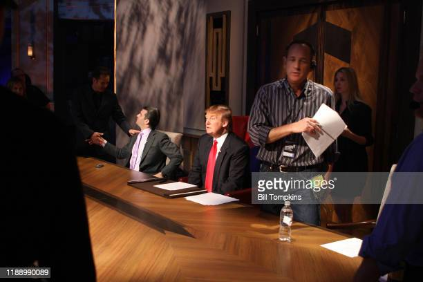 May 10 MANDATORY CREDIT Bill Tompkins/Getty Images Donald Trump and Donald Trump Jr speaking to the Prouction staff during the Season Finale of the...