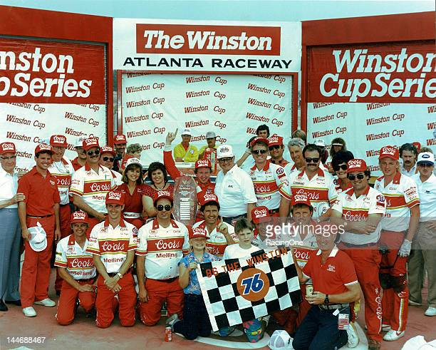 """May 11, 1986: Bill Elliott and his crew enjoy victory lane at Atlanta International Raceway after winning """"The Winston."""" This was the only time the..."""