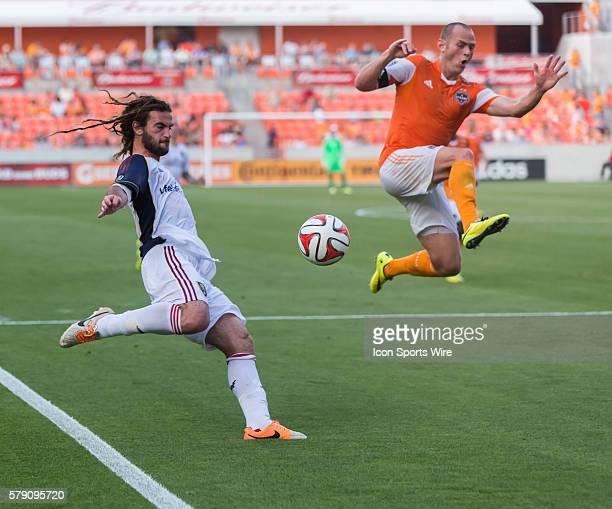 Real Salt Lake midfielder Kyle Beckerman and Houston Dynamo midfielder Brad Davis during the MLS game between Real Salt Lake and the Houston Dynamo...