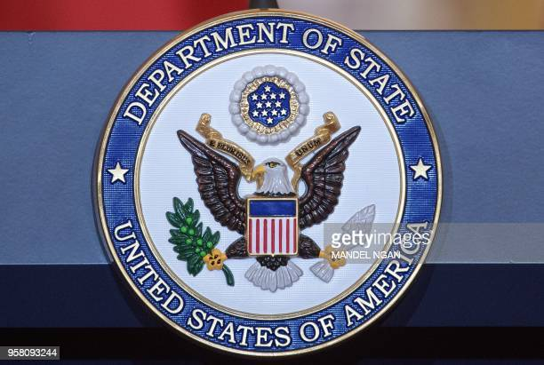 A May 11 2018 photo shows the seal of the US State Department at the State Department in Washington DC