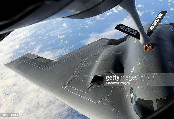 May 12, 2009 - A U.S. Air Force B-2 Spirit aircraft receives fuel from a KC-135 Stratotanker over the western Pacific Ocean.