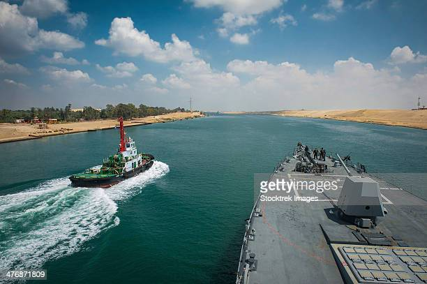 may 12, 2013 - the guided-missile destroyer uss stockdale (ddg-106) transits the suez canal. - suez canal stock photos and pictures