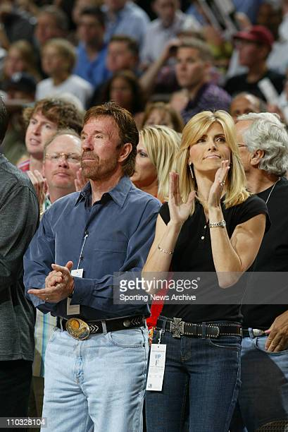 May 13, 2005; Dallas, Texas, USA; Chuck Norris, wife, Gena O'Kelley Phoenix Suns against Dallas Mavericks during Game 4 of the Western Conference...