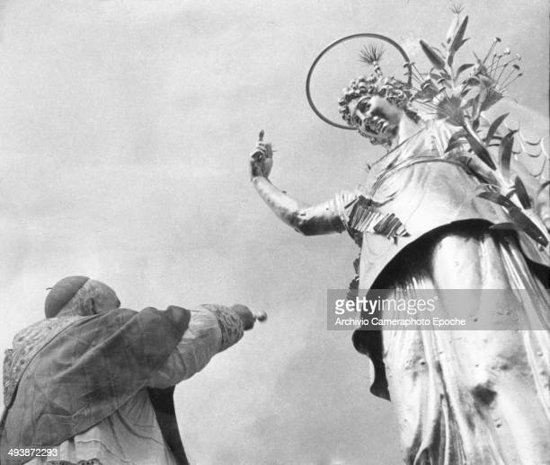May 14 1955 Cardinal Roncalli blesses the Angel on the St Mark tower.