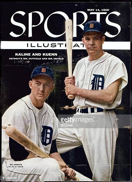 May 14 1956 Sports Illustrated Cover Baseball Portrait of Detroit Tigers Al Kaline and Harvey Kuenn before game vs Chicago White Sox Detroit MI...