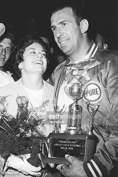 Ned Jarrett in victory lane at Langley Field Speedway after winning the Tidewater 250 NASCAR Cup race