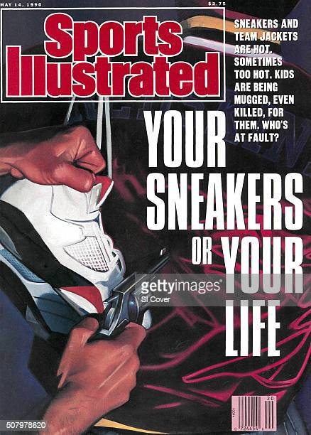 May 14 1990 Sports Illustrated via Getty Images Cover Illustration of sneakers and hand holding gun painting by Art Department Equipment New York NY...